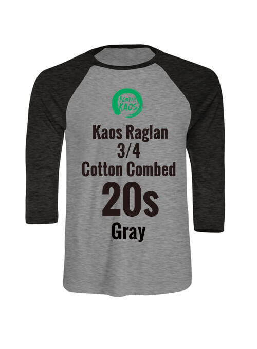 Kids Kaos Raglan 3/4 Cotton Combed 20s Gray