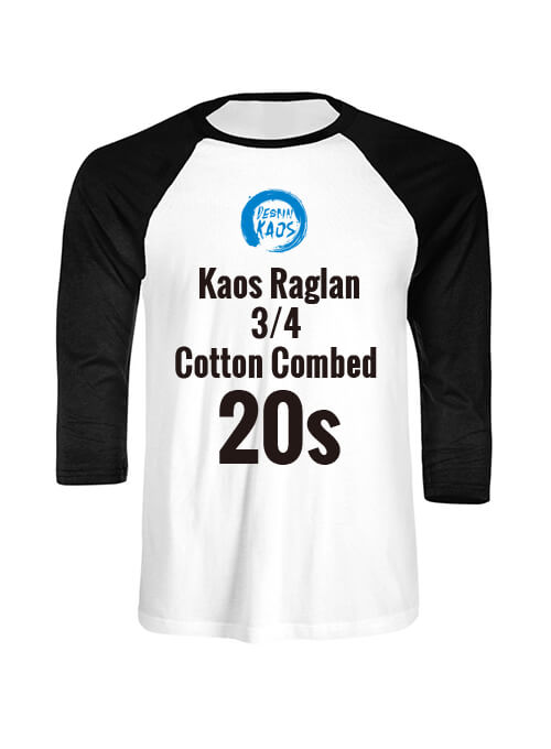 Kaos Raglan 3/4 Cotton Combed 20s